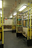 Metro car interior. Budapest, Line 1, Interior of classic subway car in Hungary. Line 1 is the first underground railway to be built in continental Europe ( stock images
