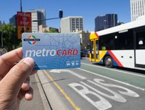 Metro card is a contactless smartcard ticketing system for public transport services in the greater Adelaide area. ADELAIDE, SOUTH AUSTRALIA. - On November 30 stock photography