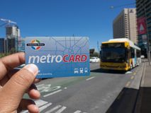 Metro card is a contactless smartcard ticketing system for public transport services in the greater Adelaide area. ADELAIDE, SOUTH AUSTRALIA. - On November 30 stock image