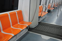 Metro carriage seats Stock Photos