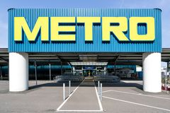 Entrance of a Metro cash & carry market. Metro cash & carry is the largest sales division of the German trade and retail giant Metro AG royalty free stock photo