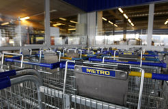 Metro Cash&Carry logo on carts Royalty Free Stock Photography