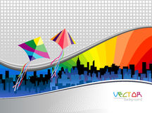 Metro City Background and Flying Kites. Colorful kites flying in metro skyline Royalty Free Stock Photos