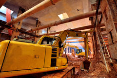 Metro construction underground. Whole working base of Metro construction, with falsework and construction material, shown as big architecture work and industrial Royalty Free Stock Photography