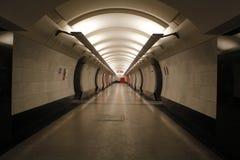 Metro de Moscú, subterráneo del paisaje del povsednevnij Foto de archivo libre de regalías