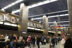 Metro de Moscou, metro da paisagem do povsednevnij Foto de Stock Royalty Free
