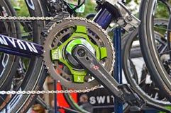Metro de poder de Nairo Quintana en su bici de la raza foto de archivo libre de regalías