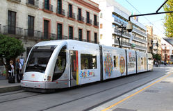 Metro de Sevilla in the streets of Seville, Spain Stock Photos