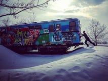 Metro in de sneeuw stock foto's