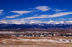 Metro Denver with Rocky Mountains Stock Images