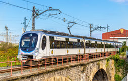 Metro Donostialdea train on the Spain - France border in Hendaye. Royalty Free Stock Photo