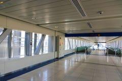 Metro - Dubai. DUBAI, UAE - April 18: Interior of BurJuman metro station on January 1, 2016 in Dubai, UAE. The Dubai Metro is a driverless, fully automated metro stock photos