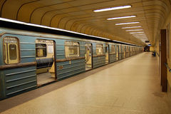 Metro einde in Boedapest Stock Foto's