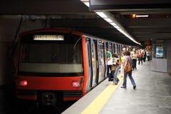 Metro en la estación de Oriente, Lisboa Imagen de archivo libre de regalías