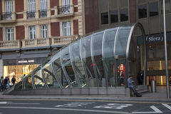 Metro entrance. In Bilbao, Spain royalty free stock images