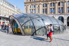 Metro entrance at Gare St. Lazare in Paris, France Royalty Free Stock Images