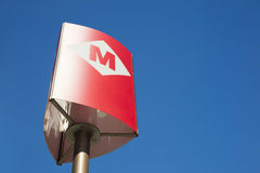 Metro entrance sign in Barcelona.  Stock Photography