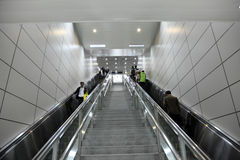Metro escalator in Shanghai. Escalator in the Metro of Shanghai, China Stock Images