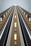 Metro escalator vector. In metro escalator close-up, vector Royalty Free Stock Photo