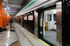 Metro-estação nova Begovaya em St Petersburg, Rússia imagens de stock