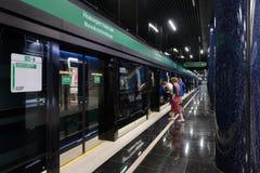 Metro-estação nova Novokrestovskaya em St Petersburg, Rússia foto de stock royalty free