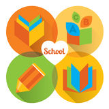 Metro flat icon set about education, school and growing Royalty Free Stock Photography