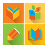Metro flat icon set about education, school and growing. Vector illustration and design element Stock Photos