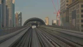 DUBAI, UAE - 8 December, 2017: Dubai Metro. Metro and fully automated train in the city of Dubai stock footage