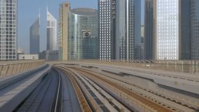DUBAI, UAE - 8 December, 2017: Dubai Metro. Metro and fully automated train in the city of Dubai stock video