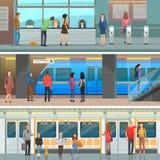 Metro furgon, Nowożytna stacja i wejście set, ilustracja wektor