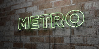 METRO - Glowing Neon Sign on stonework wall - 3D rendered royalty free stock illustration. Can be used for online banner ads and direct mailers royalty free illustration