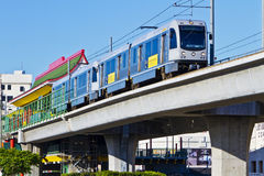 Metro Gold Line Train Depart Chinatown Station Stock Photos