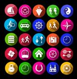 877metro. Metro icons on the black Royalty Free Stock Image