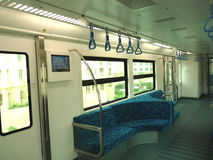 Metro Inside Seating. The Dubai Metro (In Arabic: مترو دبي) is a driverless, fully automated metro network in the United Arab Emirates city of Dubai. The Stock Photo
