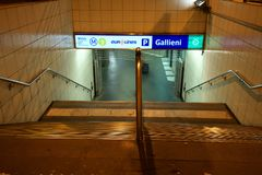 Metro and international bus station of Gallieni in Bagnolet early in the morning stock photography