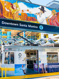 Metro Light Rail & Art Mural In Downtown Santa Monica Platform. Metro Light Rail Platform with art mural In Downtown, Santa Monica, California. Phase 2 connects Royalty Free Stock Photography