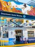 Metro Light Rail & Art Mural In Downtown Santa Monica Platform. Metro Light Rail Platform with art mural In Downtown, Santa Monica, California. Phase 2 Royalty Free Stock Photography
