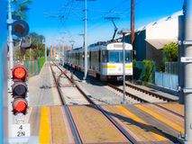 Metro Light Rail Train Heading West At 26th St/Bergamot Station In Santa Monica. California.  26th Street/Bergamot is an at-grade light rail station in the Los Royalty Free Stock Image