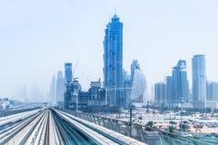 Metro lijn in Doubai Royalty-vrije Stock Afbeeldingen