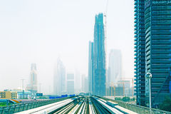 Metro line in Dubai city Royalty Free Stock Photos
