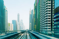 Metro line in Dubai city Royalty Free Stock Photography