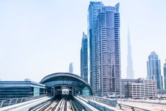 Metro line in Dubai Royalty Free Stock Photography