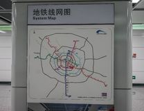 Metro line map in Chengdu, China royalty free stock photos