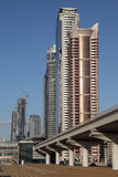 Metro Line and skyscrapers in Dubai Stock Images