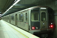 Metro Red line subway train. In Los Angeles royalty free stock images
