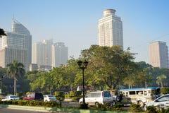 Metro Manila i morgonen Arkivbild