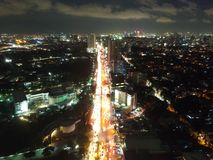 Metro manila traffic. At 8 in the evening stock photo