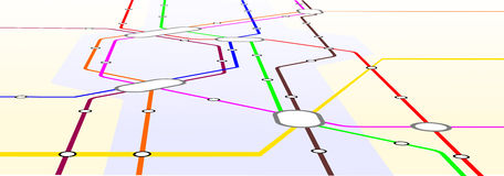 Metro. Map with different lines unfolded in perspective Royalty Free Stock Photos