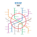 Metro Map Vector. City Transportation Scheme Concept. Colorful Background With Stations Stock Photography