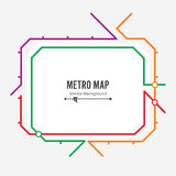 Metro Map Vector. Fictitious City Public Transport Scheme. Colorful Background With Stations Stock Image